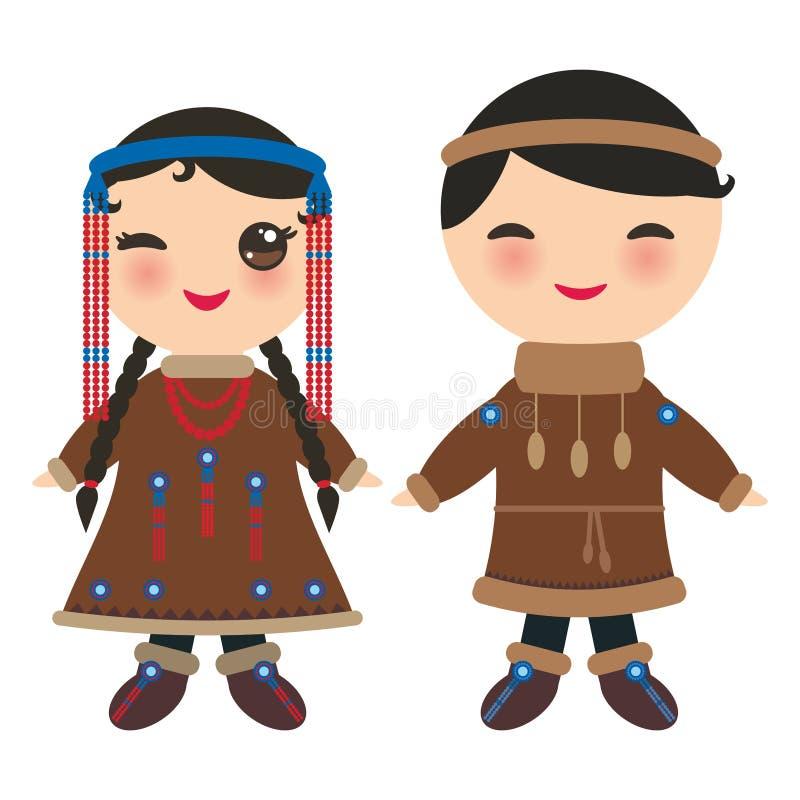 Esquimós Yakut menino e menina de Chukcha no traje e no chapéu nacionais Crianças dos desenhos animados no vestido tradicional de ilustração do vetor