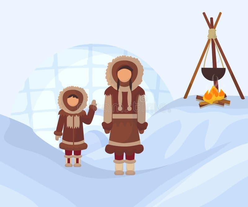 Esquim?s na roupa nacional Mulher e criança em trajes tradicionais do Polo Norte Povos de Alaska com o caldeirão no fogo ilustração stock