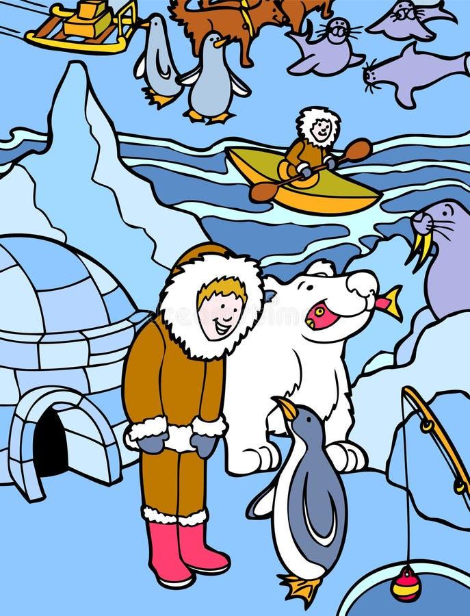 Esquimal en Alaska ilustración del vector