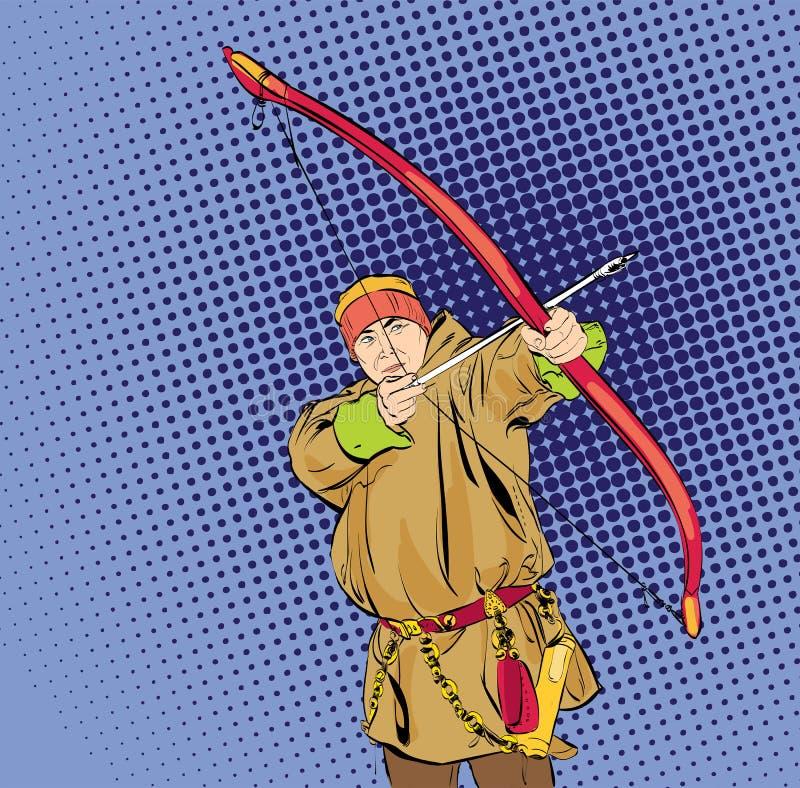 Esquimales con el arco Carácter del hombre del Inuit, de Chukchi en el traje tradicional que se coloca con el arco y flecha, gent ilustración del vector