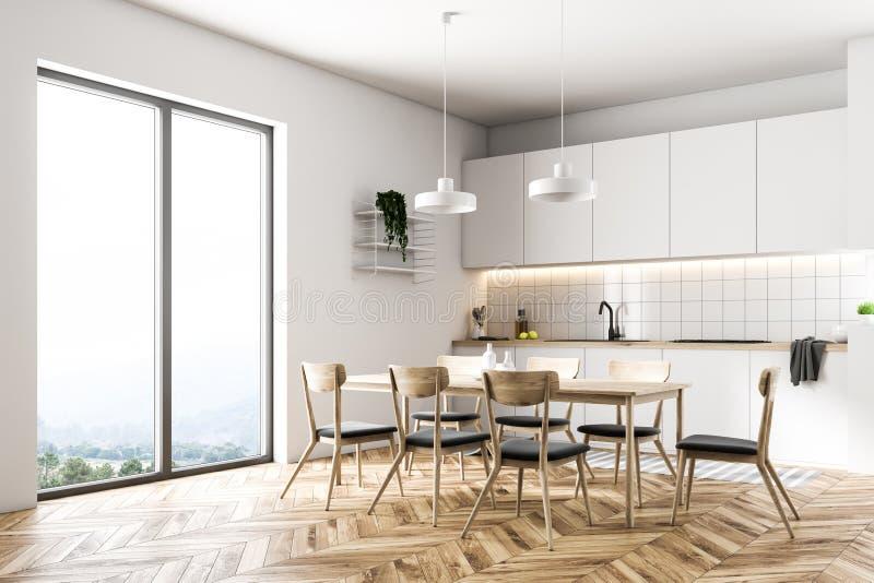 Esquina blanca de la cocina de la ventana francesa stock de ilustración