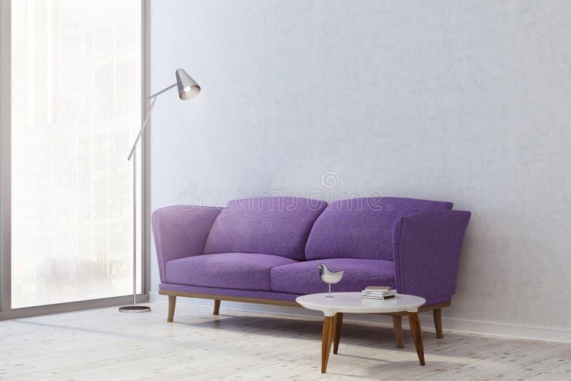 Esquina blanca de la sala de estar, sofá púrpura stock de ilustración