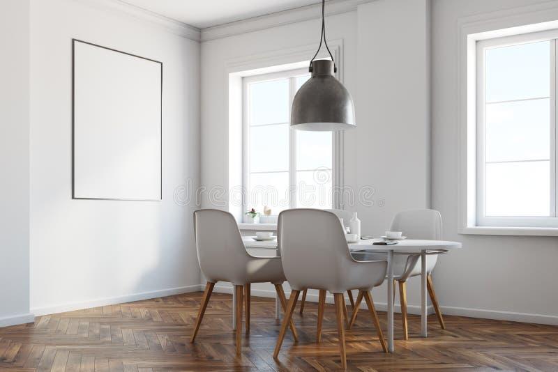 Esquina blanca del comedor, piso de madera, cartel stock de ilustración