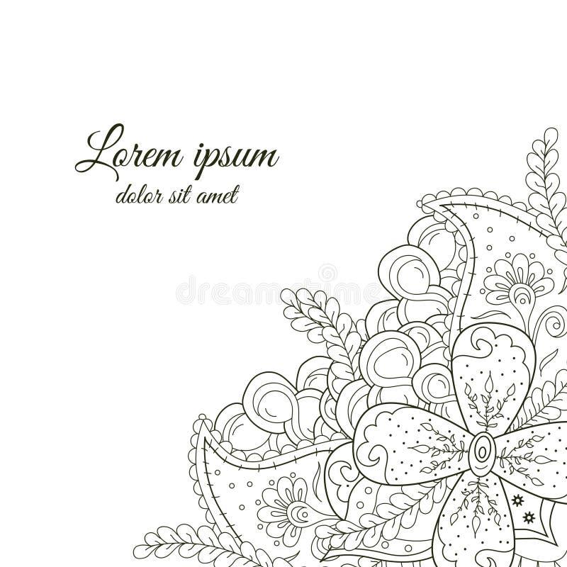 Esquina blanco y negro dibujada mano linda del garabato ilustración del vector
