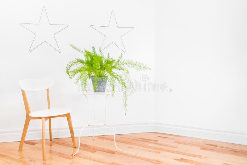 Esquina brillante del sitio con la planta simple de los muebles y del helecho de espárrago fotografía de archivo
