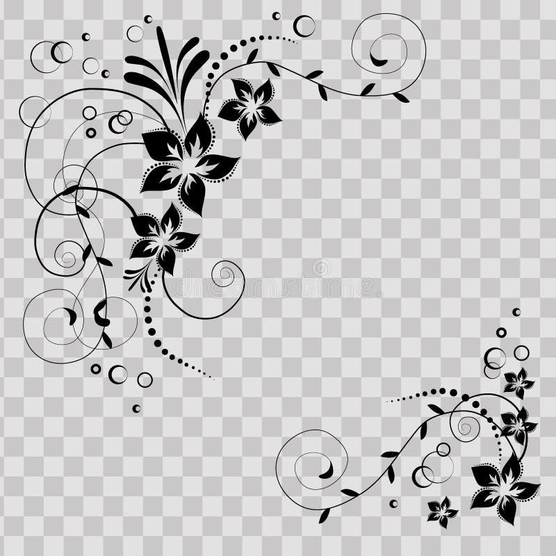 Esquina de la flor en vector Flores negras en fondo transparente Tarjeta florida de la invitación Fondo con floral ilustración del vector
