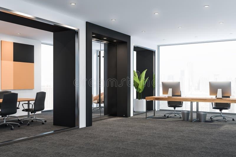 Esquina de la oficina beige del espacio abierto, sala de reunión libre illustration