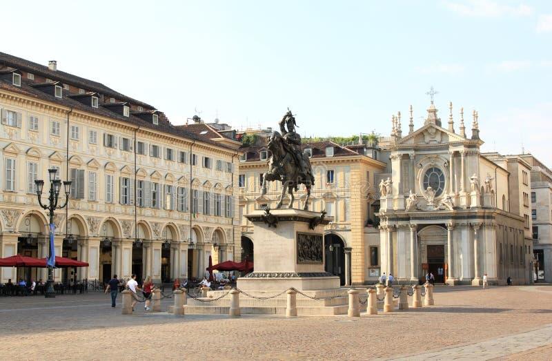 Esquina de la plaza San Carlo, Turín, Italia fotografía de archivo libre de regalías