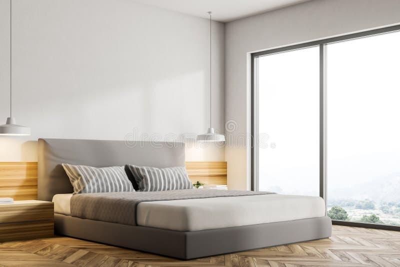 Esquina de madera del dormitorio del desván del piso ilustración del vector
