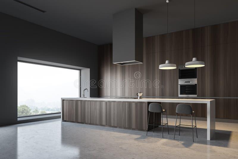 Esquina de madera oscura de la cocina con la barra y los hornos ilustración del vector