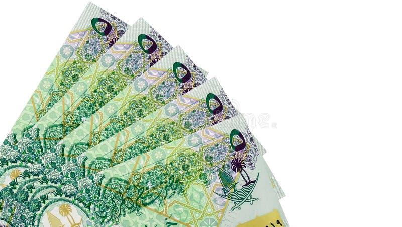 Esquina de Qatar 5 riyals de billetes de banco imagen de archivo