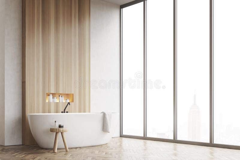 Esquina de un cuarto de baño, ventana, blanco y de madera ilustración del vector