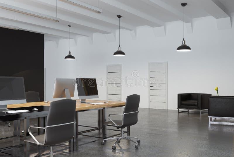 Esquina de una oficina del espacio abierto stock de ilustración