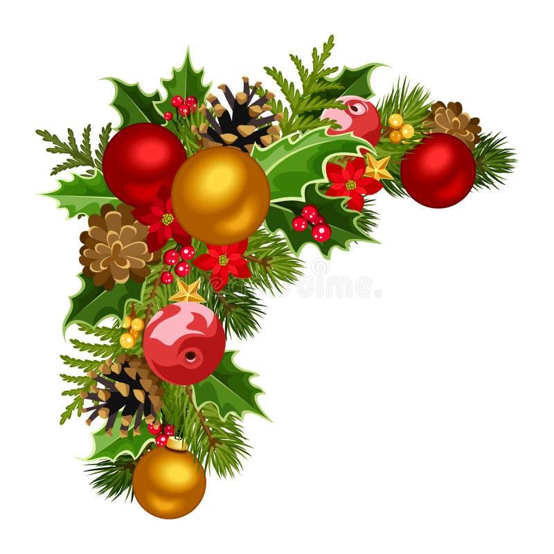 Esquina decorativa de la Navidad. ilustración del vector