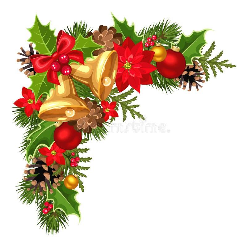 Esquina decorativa de la Navidad con las ramas, las bolas, las campanas, el acebo, la poinsetia y los conos del abeto Ilustración stock de ilustración