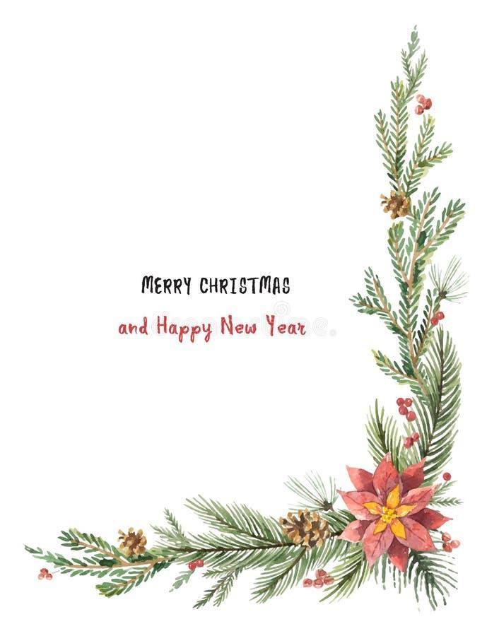 Esquina decorativa de la Navidad del vector de la acuarela con las ramas del abeto y las poinsetias de la flor libre illustration