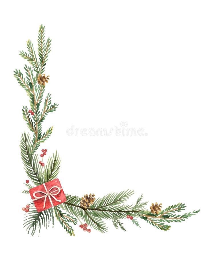 Esquina decorativa de la Navidad del vector de la acuarela con las ramas, los regalos y los conos del abeto stock de ilustración