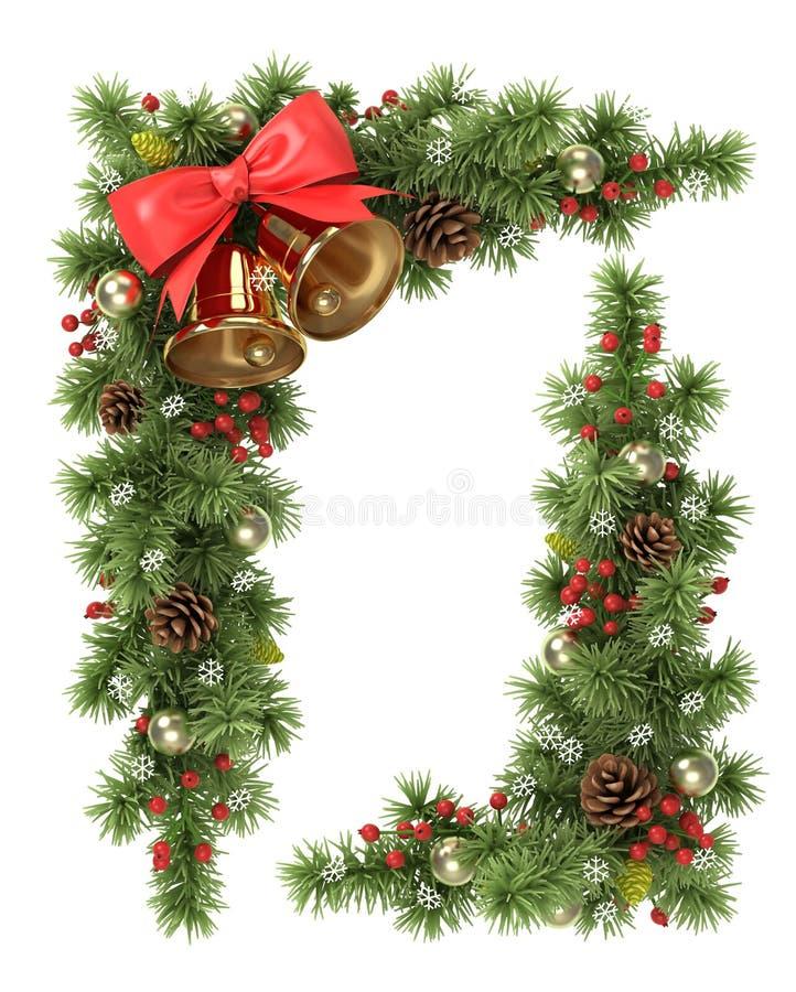Esquina del árbol de navidad ilustración del vector