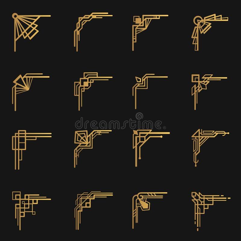 Esquina del art d?co en emblema negro, ornamental stock de ilustración