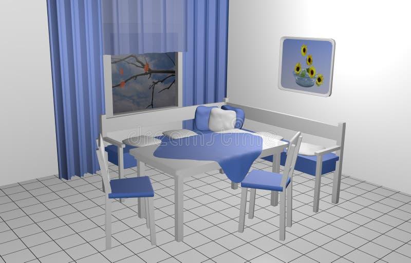 Esquina del asiento para la cocina stock de ilustración