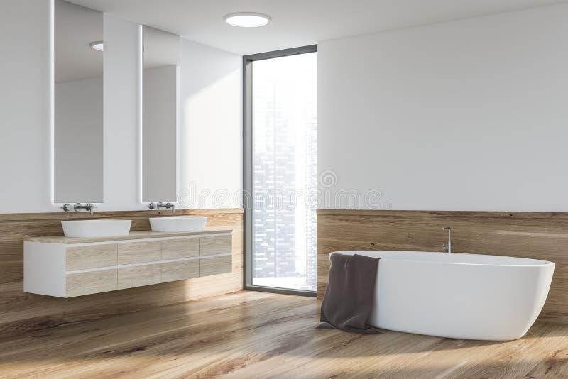 Esquina del cuarto de baño, tina y fregadero blancos y de madera libre illustration