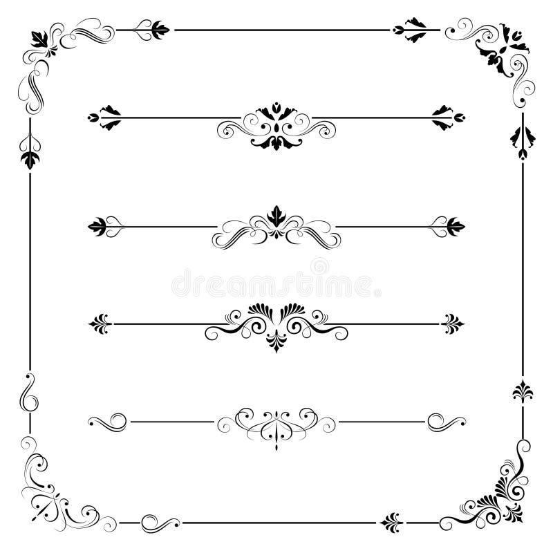 Esquina del divisor de la frontera del marco del vector del vintage stock de ilustración