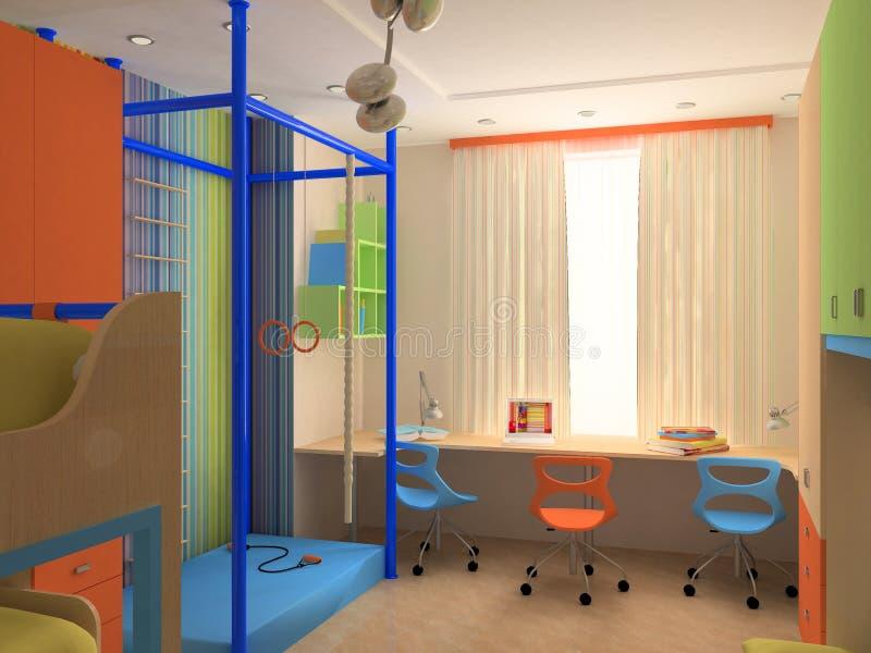 Esquina del dormitorio del `s del niño con muebles coloridos imagen de archivo libre de regalías
