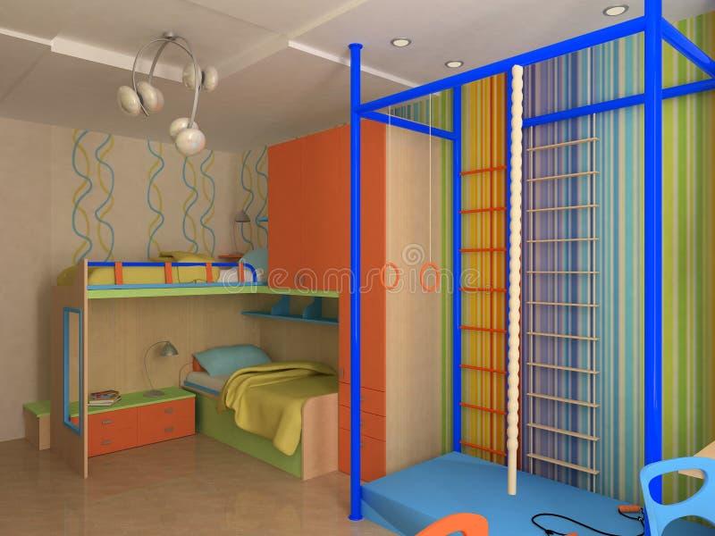 Esquina del dormitorio del `s del niño con muebles coloridos foto de archivo