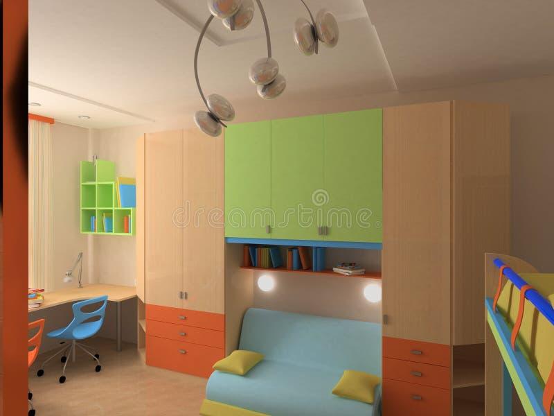Esquina del dormitorio del `s del niño con muebles coloridos foto de archivo libre de regalías