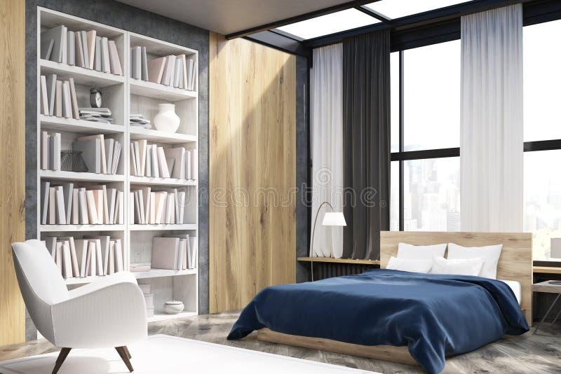 Esquina del interior del dormitorio con el estante para libros imágenes de archivo libres de regalías