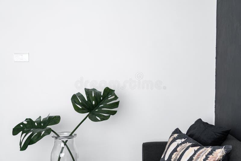 Esquina del sofá con la planta artificial en el florero de cristal con la pared/el espacio pintados blancos vacíos para hacer pub foto de archivo libre de regalías