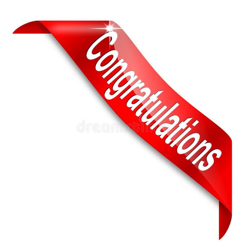 Esquina estrecha roja con la enhorabuena de la palabra fotografía de archivo libre de regalías