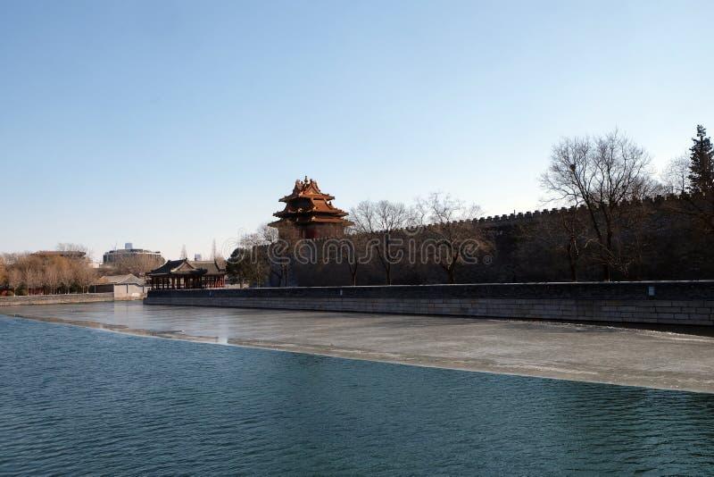 Esquina externa de la ciudad Prohibida, Pekín de la fosa fotos de archivo libres de regalías