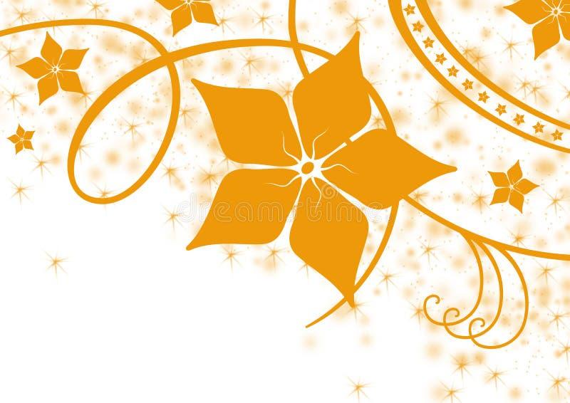 Esquina floral anaranjada de Grunge ilustración del vector