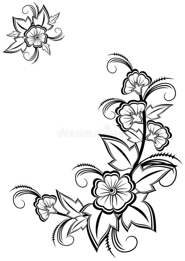 Esquina floral blanco y negro abstracta stock de ilustración