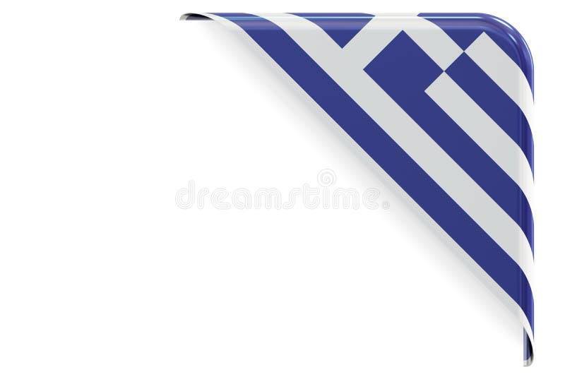 Esquina griega de la bandera, botón, etiqueta representación 3d ilustración del vector