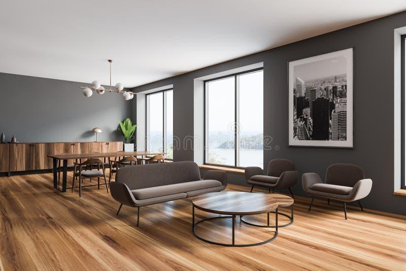Esquina gris de la sala de estar y del comedor ilustración del vector