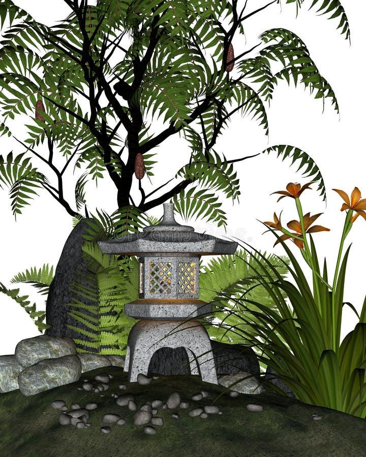 Esquina japonesa del jardín de té ilustración del vector