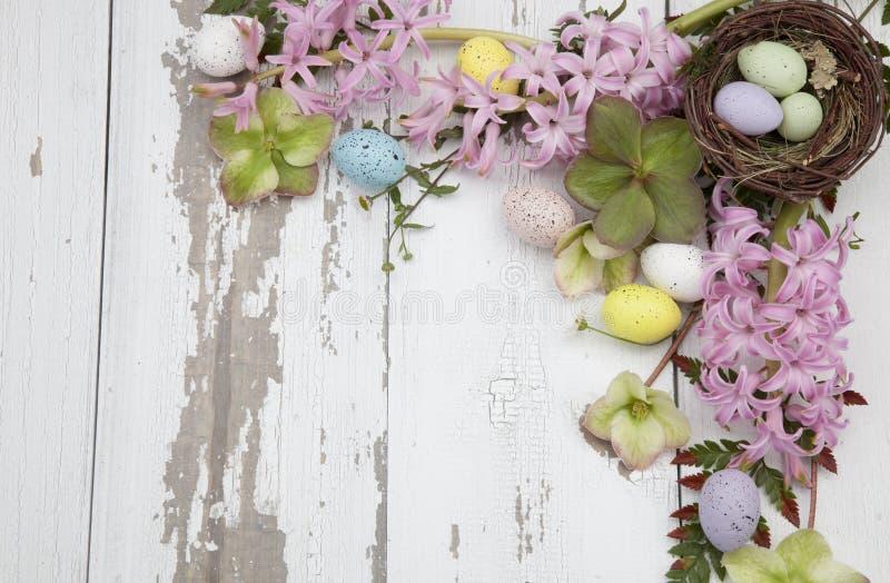 Esquina Marco floral Tema de Pascua fotografía de archivo
