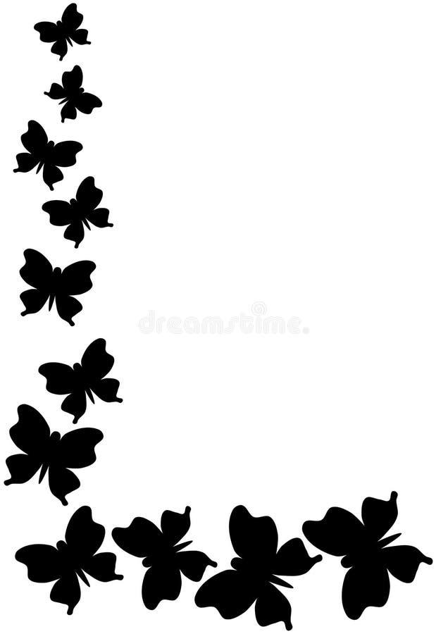 Esquina monocromática de la frontera de las mariposas ilustración del vector