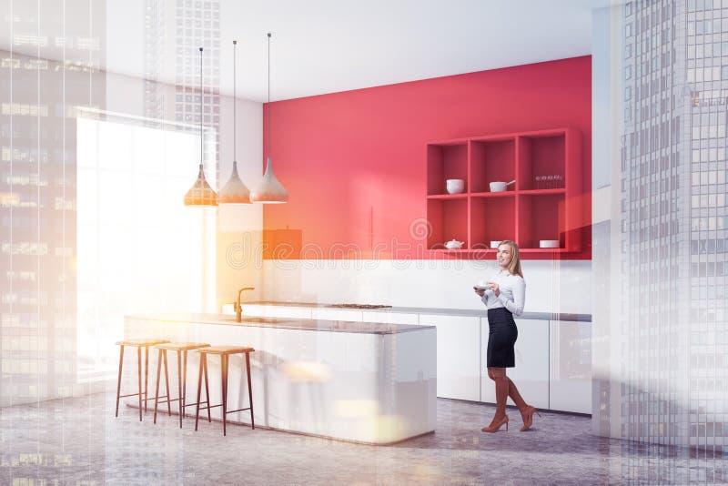 Esquina roja de la cocina con la barra y los estantes, mujer stock de ilustración