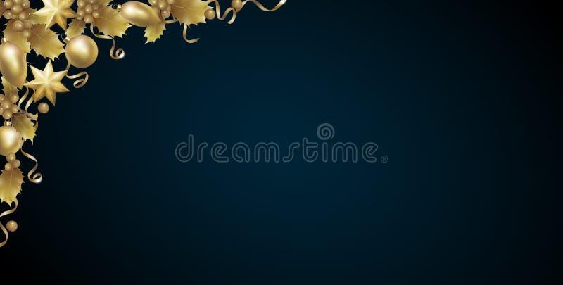 Esquina roja realista del oro de la baya del acebo del Año Nuevo de la Navidad Fondo del elemento del diseño de la decoración de  ilustración del vector
