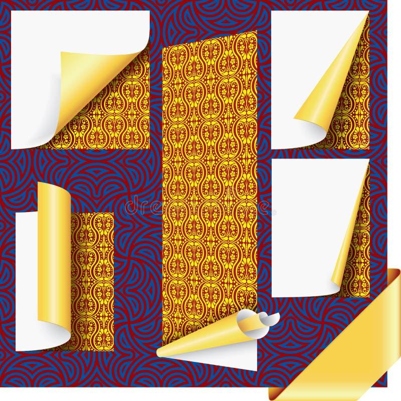 Esquinas de la paginación del oro y conjunto de la cinta stock de ilustración