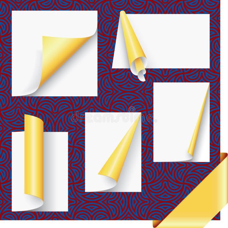 Esquinas de la paginación del oro y conjunto de la cinta ilustración del vector