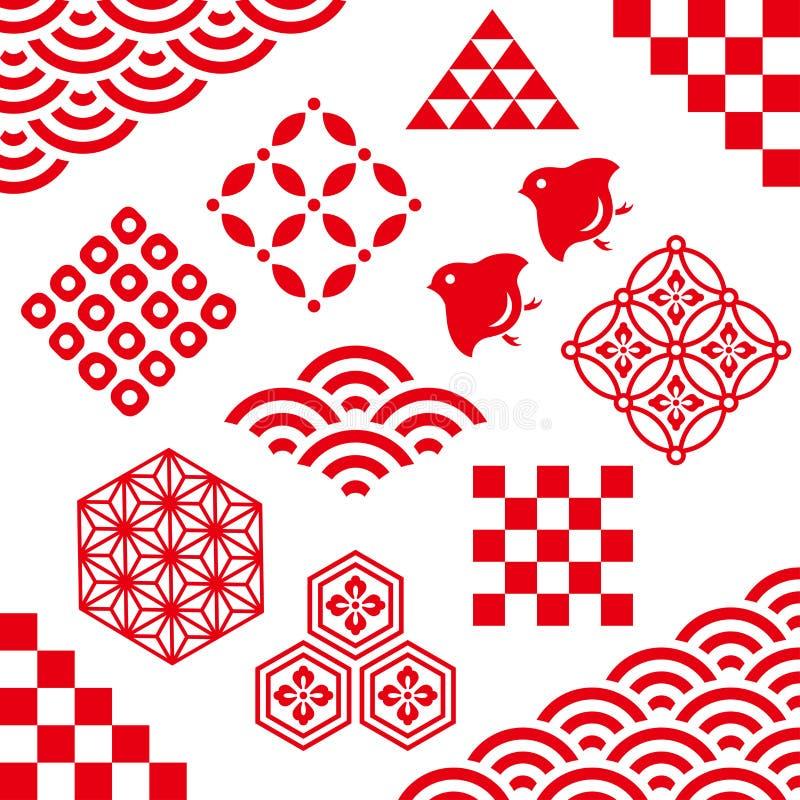 Esquinas e iconos decorativos japoneses ilustración del vector