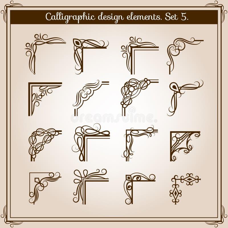 Esquinas florales del ornamento del marco de página del vintage del vector Elementos pescados con caña flourish retro del diseño  libre illustration
