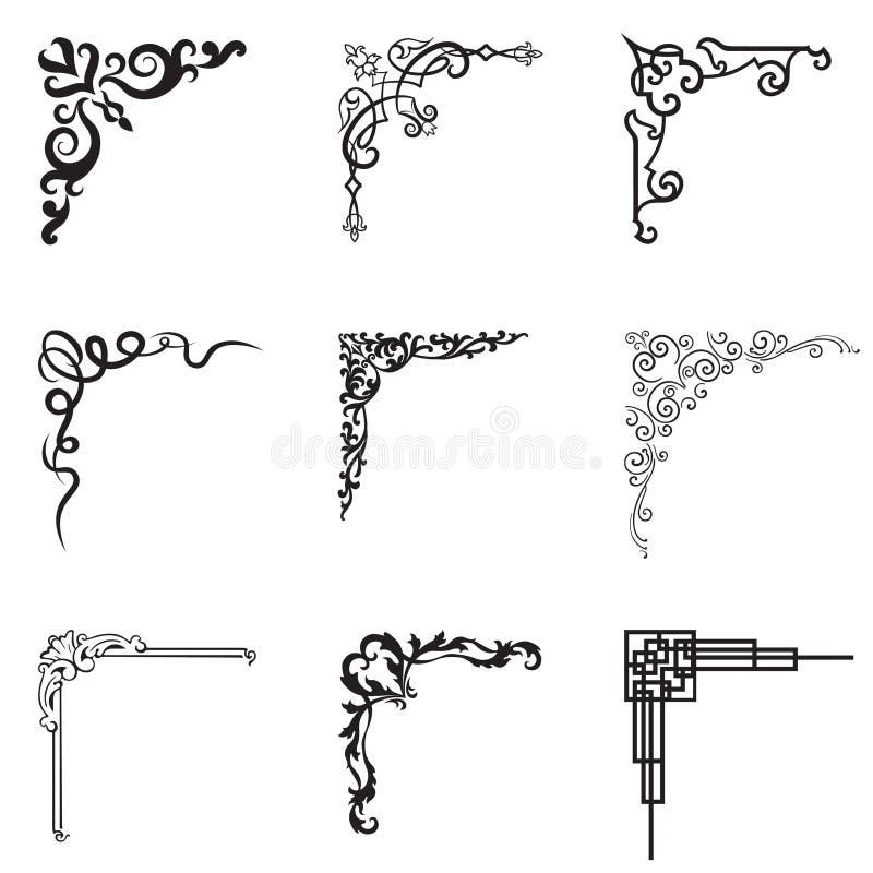 Esquinas florales y geométricas ornamentales en diverso estilo ilustración del vector
