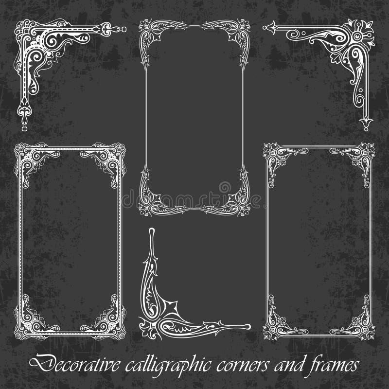 Esquinas y marcos caligráficos decorativos en un fondo de la pizarra stock de ilustración