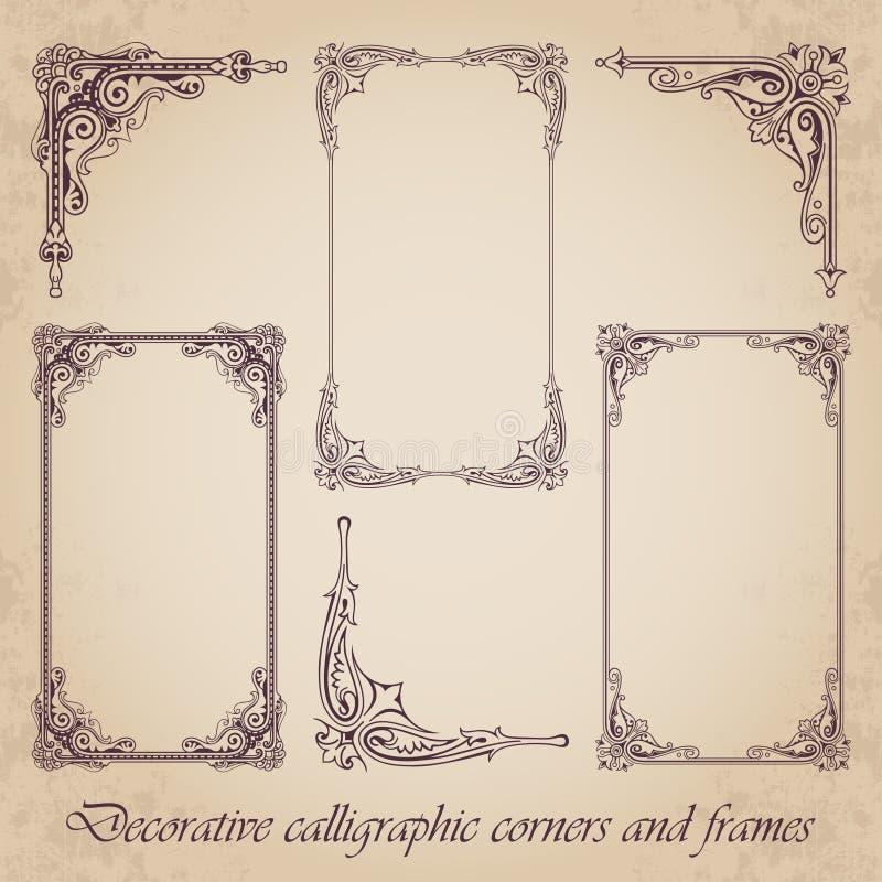 Esquinas y marcos caligráficos decorativos - sistema del vector stock de ilustración
