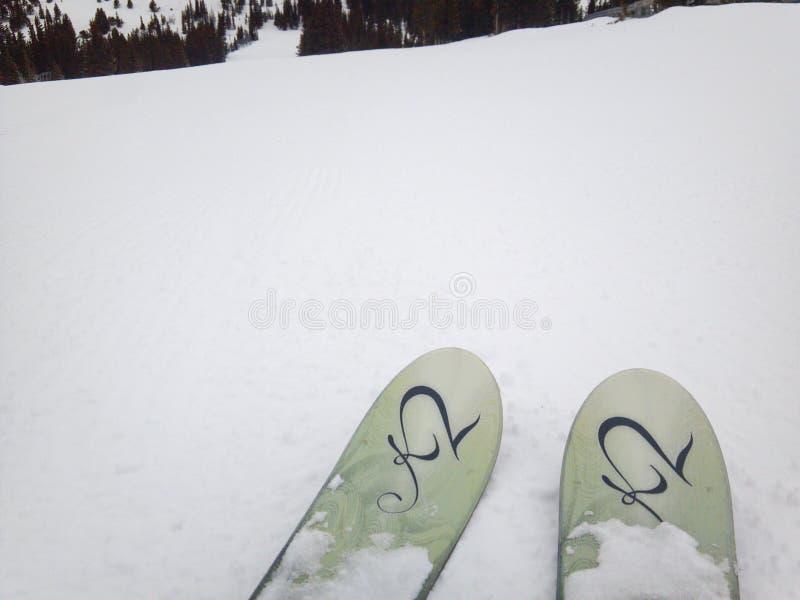 Esquis aguçado para baixo em Ski Slope imagens de stock royalty free